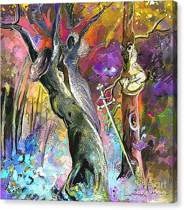 King Solomon And The Two Mothers Canvas Print by Miki De Goodaboom