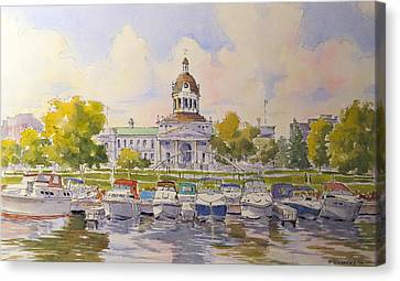 Kingston City Hall And Harbour Canvas Print by David Gilmore