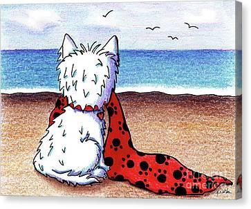 Kiniart Beach Blanket Westie Canvas Print by Kim Niles