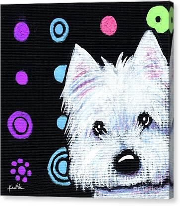 Kiniart Disco Westie Canvas Print by Kim Niles