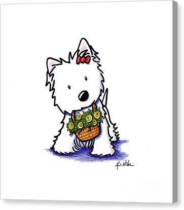 Kiniart Flower Basket Westie Canvas Print by Kim Niles