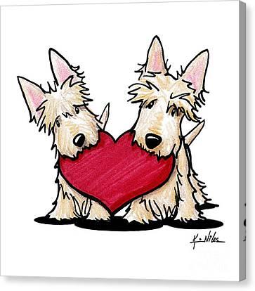 Kiniart Heartfelt Scotties Canvas Print by Kim Niles
