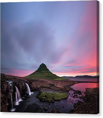 Kirkjufellsfoss Waterfalls Iceland Square Version Canvas Print by Larry Marshall
