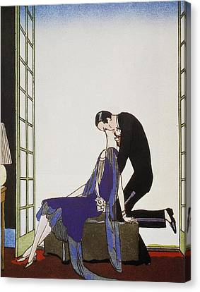 Kiss Canvas Print by Georges Barbier