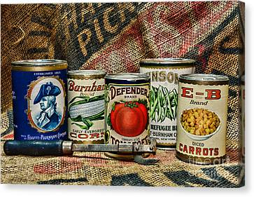 Kitchen - Vintage Food Cans Canvas Print by Paul Ward