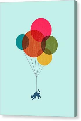 Kitten Baloon Trip Canvas Print by Illustratorial Pulse