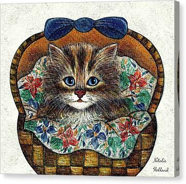 Kitten In Basket Canvas Print by Natalie Holland