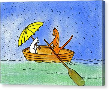 Kitties In A Boat Canvas Print by Norma Appleton
