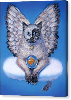 Kitty Yin Yang- Cat Angel Canvas Print by Sue Halstenberg