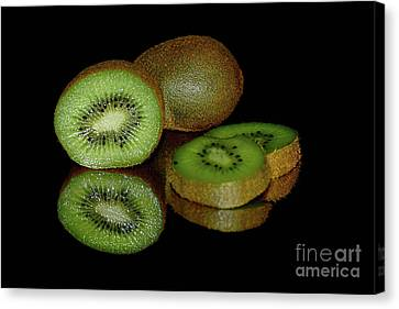 Kiwi Fruit Reflecting On Black By Kaye Menner Canvas Print by Kaye Menner