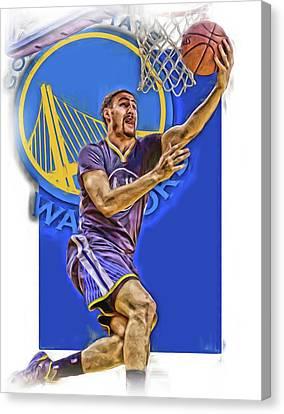 Klay Thompson Golden State Warriors Oil Art Canvas Print by Joe Hamilton