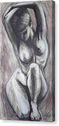 Kneeling 3 -  Female Nude-cropped Canvas Print by Carmen Tyrrell