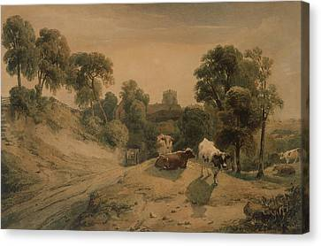 Kneeton On The Hill Canvas Print by Peter de Wint