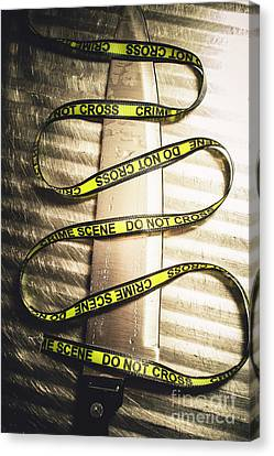 Knife With Crime Scene Ribbon On Metal Surface Canvas Print by Jorgo Photography - Wall Art Gallery