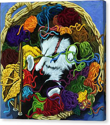 Knitter's Helper - Cat Painting Canvas Print by Linda Apple