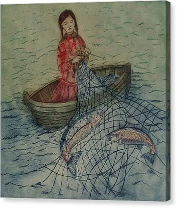 Knitting For Salmon Canvas Print by Nicola Slattery
