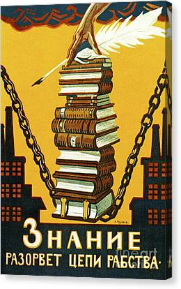 Knowledge Will Break The Chains Of Slavery, 1920 Canvas Print by Alexei Radakov