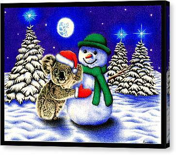 Koala With Snowman Canvas Print by Remrov