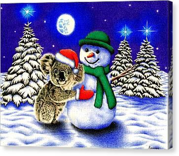 Koala With Snowman Canvas Print by Remrov