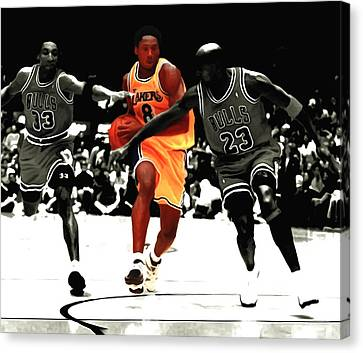 Kobe Bryant In Traffic Canvas Print by Brian Reaves