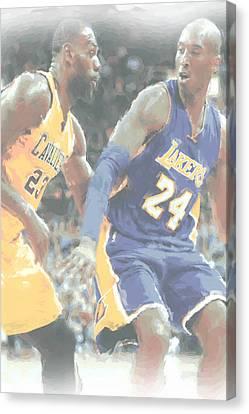 Kobe Bryant Lebron James 2 Canvas Print by Joe Hamilton