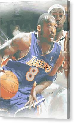 Kobe Bryant Lebron James Canvas Print by Joe Hamilton
