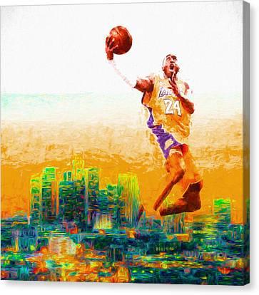 Kobe Bryant Los Angeles Lakers Digital Painting 1 Canvas Print by David Haskett