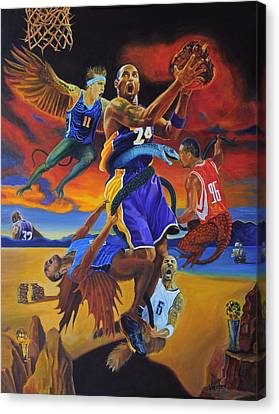 Kobe Defeating The Demons Canvas Print by Luis Antonio Vargas