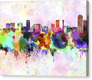 Kobe Skyline In Watercolor Background Canvas Print by Pablo Romero
