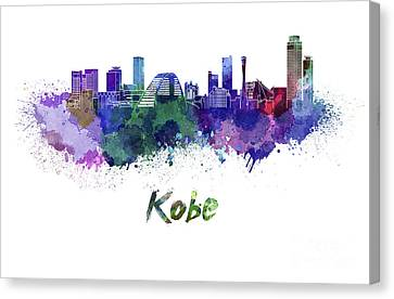 Kobe Skyline In Watercolor Canvas Print by Pablo Romero
