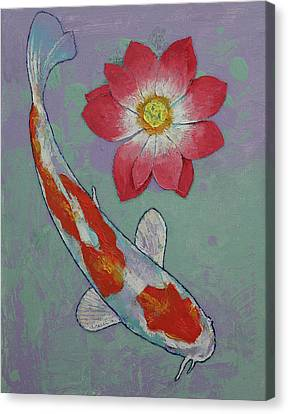 Koi And Lotus Canvas Print by Michael Creese