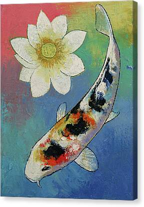 Koi And White Lotus Canvas Print by Michael Creese