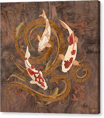 Koi Fish Wood Art Canvas Print by Vincent Doan