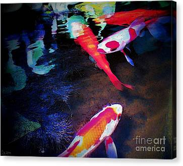 Koi Under Glass Canvas Print by Sally Siko