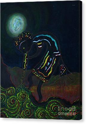 Kokopelli In Moonlight Canvas Print by William Bezik