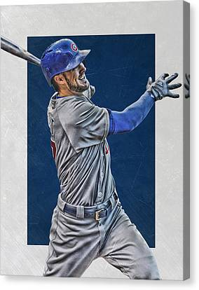 Kris Bryant Chicago Cubs Art 3 Canvas Print by Joe Hamilton