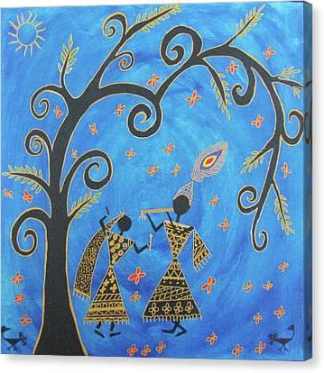 Krishna And Radha Canvas Print by Aditi Maaheshwar