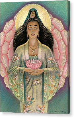 Kuan Yin Pink Lotus Heart Canvas Print by Sue Halstenberg
