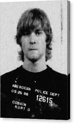 Kurt Cobain Mug Shot Painting Vertical Black And Gray Grey Canvas Print by Tony Rubino