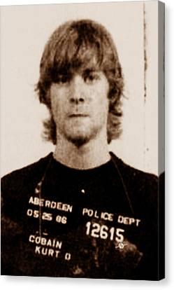 Kurt Cobain Painting Mug Shot Vertical Black And Sepia Canvas Print by Tony Rubino