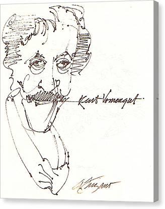 Kurt Vonnegut Canvas Print by Donna Frizano Leonetti
