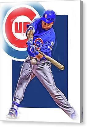 Kyle Schwarber Chicago Cubs Oil Art Canvas Print by Joe Hamilton