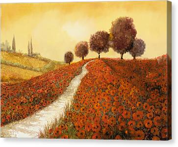 La Collina Dei Papaveri Canvas Print by Guido Borelli