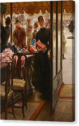 La Demoiselle De Magasin Canvas Print by James Tissot