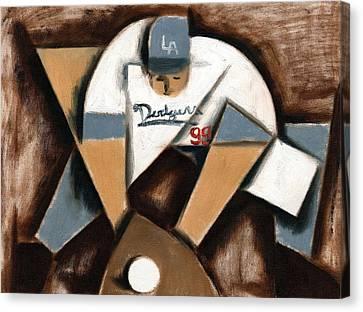 La Dodgers Cubism Baseball Player Art Print Canvas Print by Tommervik