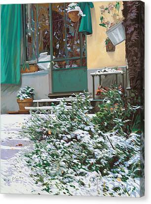 La Neve A Casa Canvas Print by Guido Borelli