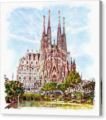 La Sagrada Familia Watercolor Canvas Print by Marian Voicu