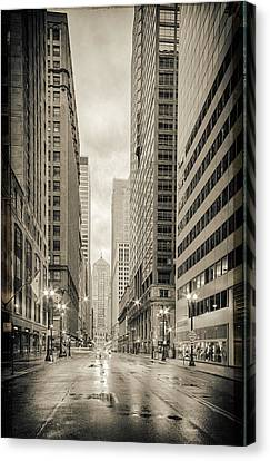 Lasalle Street Canyon With Chicago Board Of Trade Building At The South Side - Chicago Illinois Canvas Print by Silvio Ligutti