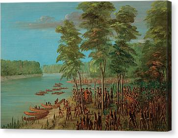 La Salle Taking Possession Of The Land At The Mouth Of The Arkansas Canvas Print by Mountain Dreams