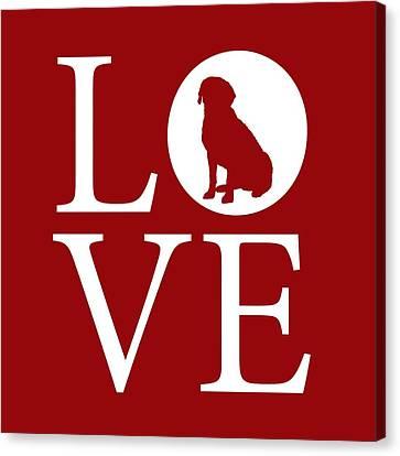 Labrador Love Red Canvas Print by Nancy Ingersoll